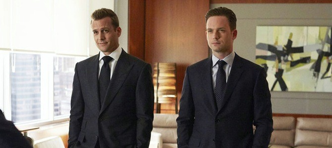 "SUITS -- ""Denial"" Episode 501 -- Pictured: (l-r) Gabriel Macht as Harvey Specter, Patrick J. Adams as Michael Ross -- (Photo by: Shane Mahood/USA Network)"